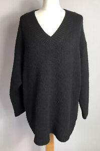 F&F Size 12 Black V Neck Jumper Pullover Chunky Knit Long Sleeves Autumn Winter