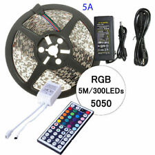 5M 3528 5050 SMD RGB LED Flexible Light Strip Lamp Kit+IR Controller+5A Power