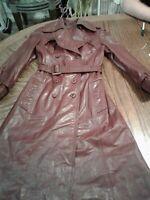 Vintage Etienne Aigner Burgendy Trench Coat Womens Size 8 (H100)