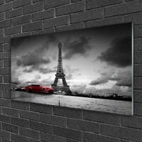 Cuadro en vidrio Impresión Imagen de 100x50 Coche Torre Eiffel Arquitectura