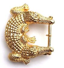 GOLD Double Head Crocodile Alligator Hollywood Regency Hardware Belt Buckle