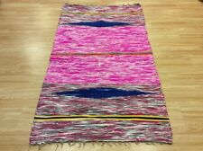 Pink Multi Colour Handwoven Rag Rug Funky Recycled Mix Textures 110x180cm 50%OFF