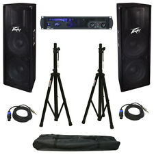 Peavey Ipr2 7500 Speaker Amplifier Amp Stands Cables (2) Pv 215 Speakers Package