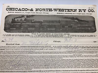 Antique Document 1902 Chicago Northwestern Railway Co. Railroad Train Graphics