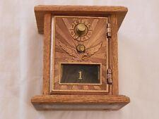 Antique Vintage U.S. Post Office Mail Box Door Brass Eagle Combination Oak Bank