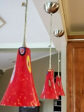 3 Kitchen Pendant Lights Brushed Nickel Fixture Red Glass Hanging Island & Light
