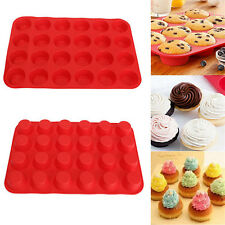 24 Muffin Cup Silicone Mould Cookies Cake Cupcake Bakeware Pan Soap Tray Kitchen