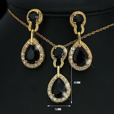 Schmuckset Schwarz Gold, Zirkonia 750er Gold /18K vergoldet 1436