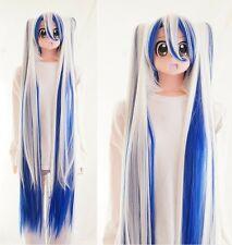 Y-380 Vocaloid Miku snow blanc bleu white blue 110 cm Pony Cosplay Perruque Wig