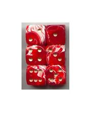 NEW Dice Set of 6 D6 (15mm) - Marble Red