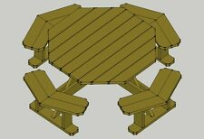 Traditional Octagon Picnic Table Plans--Easy to do!! W/without umbrella hole