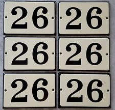 VINTAGE HOUSE NUMBER SIGN Enamel steel metal door plate plaque 26 Beige Black