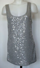 Old Navy Sparkly Sequin Light Gray Cotton/Poly Tank Top L