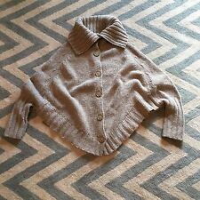 Anthropologie Sleeping On Snow Oatmeal Chunky Button Up Cape Poncho Sweater Med