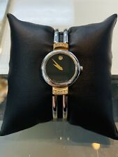 Ladies Movado HARMONY Stainless Steel & Gold Black Dial Diamond Accented Watch