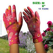 12 x Pairs SIZE M Ladies Gardening Garden Gloves Coat Palm Green Floral Pattern
