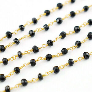 Black Onyx 3mm Gemstone Faceted Wire Wrapped Rosary Style Beaded Chain Necklace