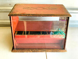 Antique Glass and Wood Countertop Advertising Display Case Box NICE