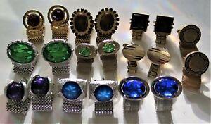 VTG Lot 12 Pair Wrap Cufflinks SWANK, DANTE, HICKOK & Unmarked Silver, Gold Tone