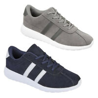 NEW MENS FAUX LEATHER CLASSIC TRAINERS LACE UP CASUAL SPORTS SHOES UK 7 -10