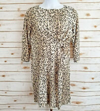 Tracy Negoshian Womens Size XL Cheetah Gold Knotted 3/4 Sleeve Marilyn Dress NWT