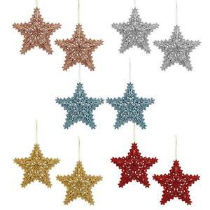 Glitter Collection Christmas Tree Decoration - 2 Pk Star - Choose Design