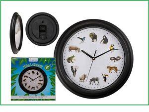 Tierstimmen Wanduhr Afrika & Asien & Dschungel zur vollen Stunde Maße ca 320 mm