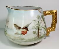 Vintage Pitcher Bavaria Germany Porcelain Birds Signed Hand Painted