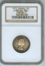 1953 NGC MS 64 Canada Shoulder Fold Quarter Dollar--Awesome Color!