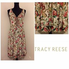 Tracy Reese Cream Floral Multi Pleated, Empire Waist S/L 100% Silk Dress, Sz 10