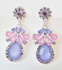 Perlen Blumen Ohrhänger Strass Acryl Tropfen floral hellblau lila rosa silber
