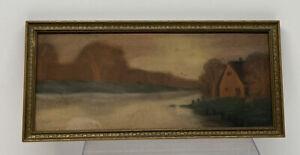 Antique Landscape Pastel / Chalk Painting from Aplington Iowa - Signed Arends