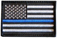 3.3/8x 1 7/8  Tactical Police law enforcement Thin Blue Line USA Flag  Patch