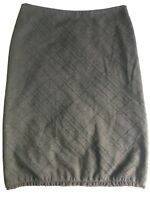 Cue size 12 Silk Wool Brown Tweed Pencil Midi Skirt with lace hem. Fully lined.