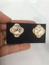 Stunning signed swan swarovski clear crystal Faceted gold tone clip earrings