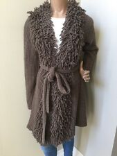 Anthropologie On-The-Fringe Sweater Coat by Charlie & Robin Wool Blend Size L