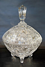Vintage Cut Crystal Lidded, 3 Footed Candy Dish
