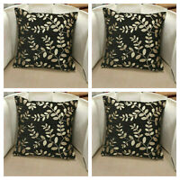 "X4 Black with Gold Floral Detail Cushion Covers 18x18"" - Extra Thick Material"