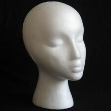 Styrofoam Foam Mannequin Female Head Model Dummy Wig Glasses Hat Display Stand