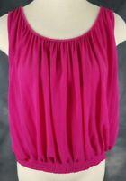 Ann Taylor LOFT Womens Small Fuchsia Sleeveless Pleats Top Blouse