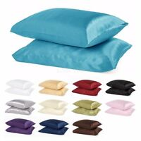 2 Piece LinenPlus Collection Satin Pillow Case Available All Colors King / Queen