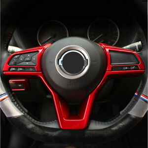 For Nissan Rogue Sport 2017-2019 Red Car Interior Steering Wheel Trim 3pcs