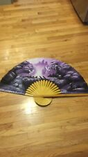"""Vintage Large Chinese Asian Hand Painted Wall Fan Purple 55"""" Beautiful!"""