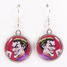 JOKER EARRINGS batman emo scene dc super hero 80s retro comic kitsch card harley
