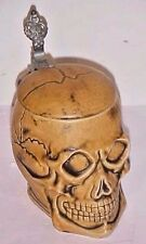 VINTAGE  POTTERY SKULL  BEER STEIN E&R GOLDEN CROWN  - MARKED GERMANY