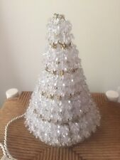 Vintage Handmade Beaded Safety Pin Christmas Tree White Lights 11�