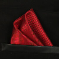 (T05) Red Solid Men Silk Hankie Pocket Square Hanky Wedding Party Handkerchief