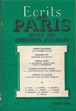 Ecrits de PARIS + Revue des Questions Actuelles + 07.1968 + Journées de MAI 1968