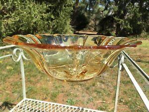 "Fostoria Baroque Topaz Yellow 12"" Flared Bowl Elegant Depression Glass #2496 WOW"