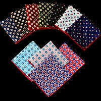 Men Pocket Square Cotton Polka Dots Flower Floral Handkerchief Wedding Hanky
